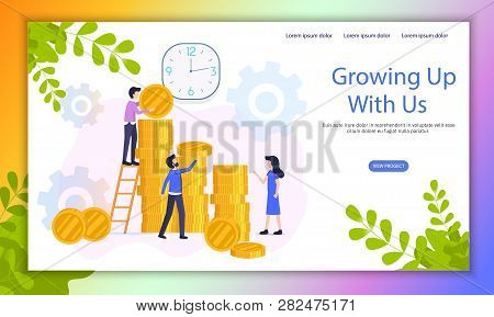 Fast Growing Business Investment Project Flat Vector Web Banner With Company Employees Working Toget