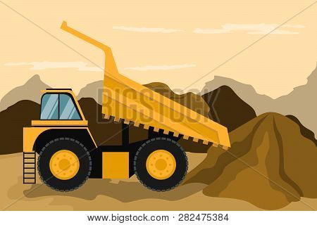 Mining Truck Doing Construction And Mining. Heavy Machinery