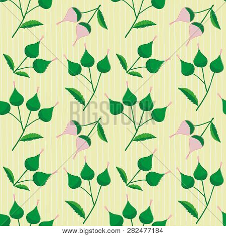 Hand Drawn Pink And Green Flower Buds On A Subtly Striped Light Yellow Background. Fresh Seamless Ve