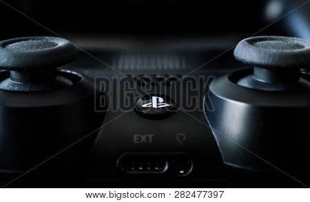 Khakiv, Ukraine - 02 May 2018: Close-up of black video games PlayStation gaming controller