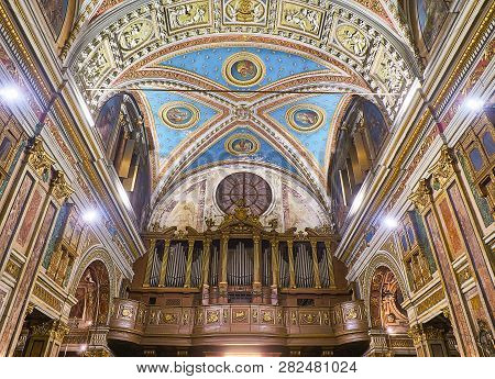 Turin, Italy - January 1, 2019. Pipe Organ Of The Chiesa Di San Carlo Borromeo Church. Turin, Piedmo