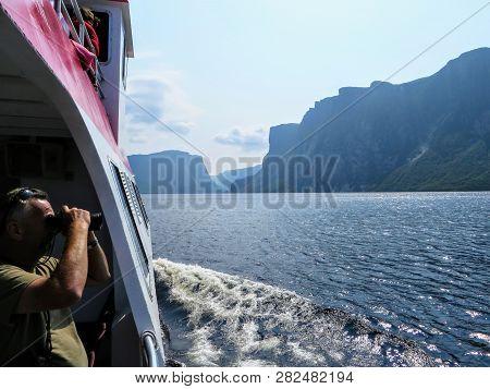 Western Brook Pond, Grose Morne National Park, Newfoundland, Canada - July 22nd 2014: A Tourist Taki