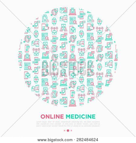 Online Medicine, Telemedicine Concept In Circle With Thin Line Icons: Pill Timer, Ambulance Online,