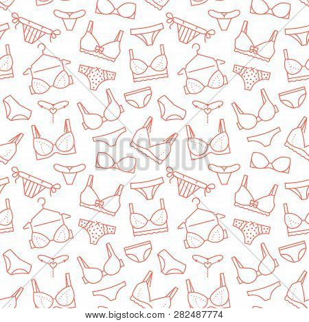 Lingerie Seamless Pattern With Flat Line Icons Of Bra Types, Panties. Woman Underwear Background, Ve