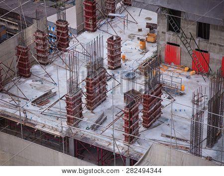 Construction Industries, Condominium Skyscraper Concrete Building  Construction Site On High Place.