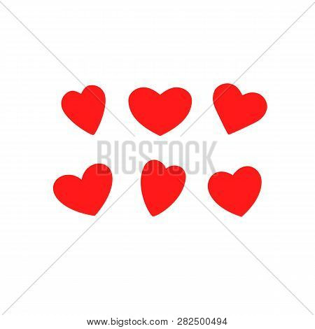 Vector Set Of The Hearts. Heart Templates. Variety Red Heart Shapes. Valentines Hearts. Kit Of The H