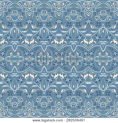 Seamless Ethnic Patterns For Border. Repeated Oriental Motif For Fabric Or Paper Design. Colored Fri