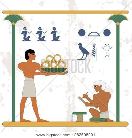 Ancient Egypt Background. Servant With Gold And Scribe Compostion .historical Background. Ancient Eg
