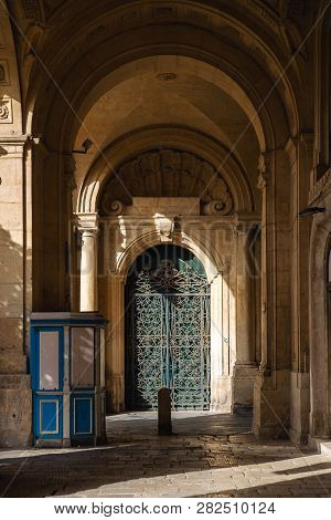 Ornate Metal And Wood Door To The Grandmaster's Palace Courtyard In Valletta, Malta