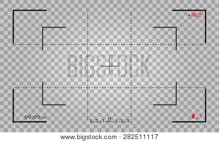 Camera Frame Viewfinder Screen. Video Recorder Digital Display With Photo Camera Frames. Focusing Vi