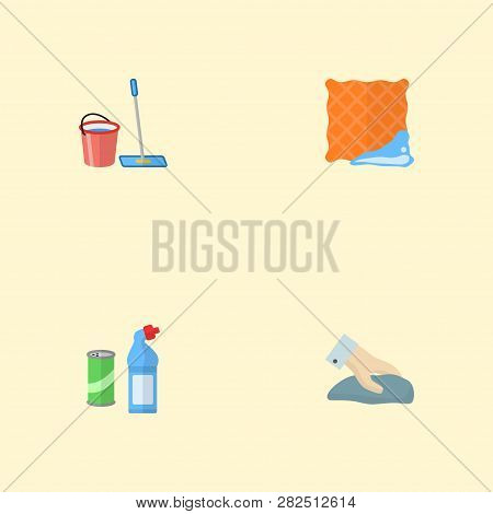 Set Of Hygiene Icons Flat Style Symbols With Clean Cloth, Wiping, Bucket With Besom And Other Icons
