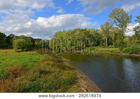 Concord River In Minute Man National Historical Park, Concord, Massachusetts, Usa.