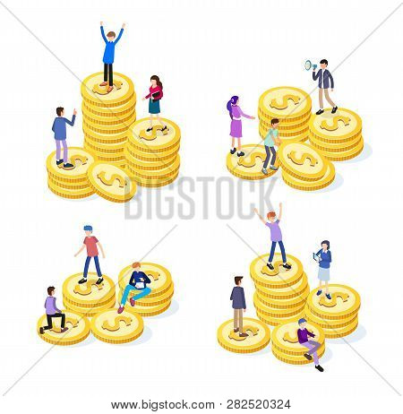 Creative Business Team Work Concept. Business People With Coins. Business Investment Set Of Isometri