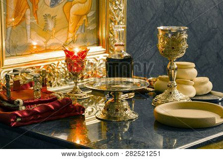 Holy Eucharist In Orthodox Church:  Preparing For Sanctification: Bread And Wine, Chalice, Paten, St