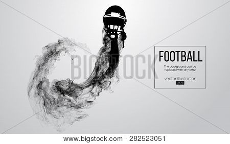 Abstract Silhouette Of A American Football Helmet On White Background From Particles, Dust, Smoke, S