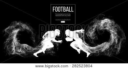 Abstract Silhouette Of A American Football Player On Dark Black Background From Particles, Dust, Smo