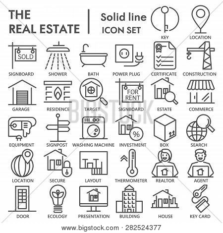 Realestate Line Signed Icon Set, House Symbols Collection, Vector Sketches, Logo Illustrations, Rent
