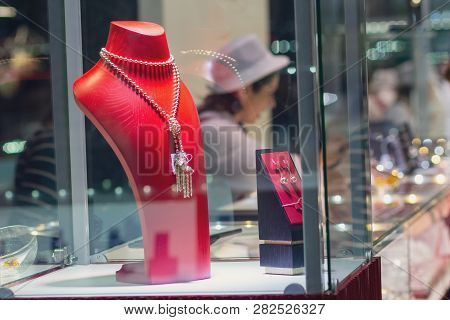 Various Jewels On The Jewelry Shop Window