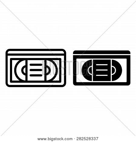Videotape Line And Glyph Icon. Vhs Tape Vector Illustration Isolated On White. Retro Video Cassette