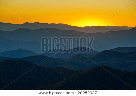 Blue Ridge Parkway Mountains Ridges Layers Sunset Appalachian Scenic Landscape