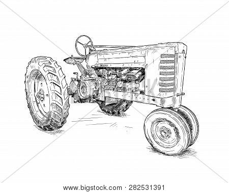 Artistic digital pen and ink drawing of old tractor. Tractor was made in Iowa, USA or US between 1934 and 1952 or 30s, 40s , 50s. poster