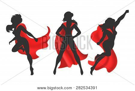 Woman Superhero Silhouette. Female Power Concept Isolated On White Background, Vector Comic Warrior