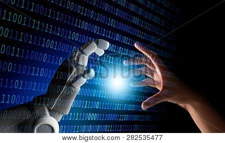 Human Hand And Robot Hand With Binary Number Code And Light On Blue Screen Background, Artificial In