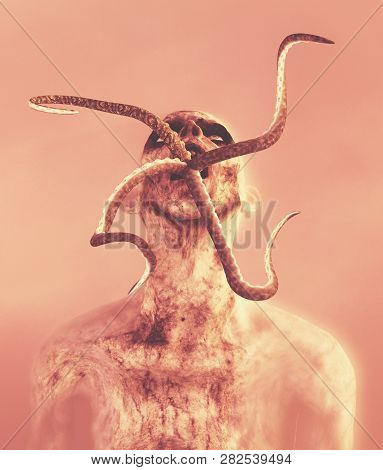 Undead,scary Zombie With Parasite In His Mouth,3d Illustration