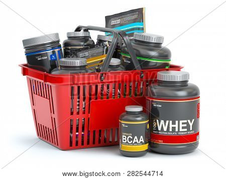 Sports  nutrition (supplements) for bodybuilding in shopping basket isolaed on white. Whey proteinand bcaa . 3d illustration