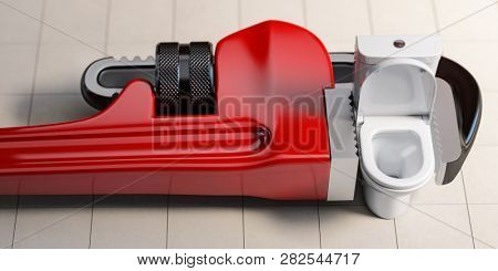 Plumber  pipe wrench and toilet bowl. Plumbing repair service. 3d illustration