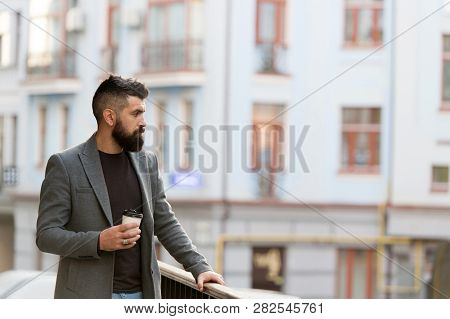 One More Sip Of Coffee. Enjoying Coffee On The Go. Businessman Well Groomed Appearance Enjoy Coffee