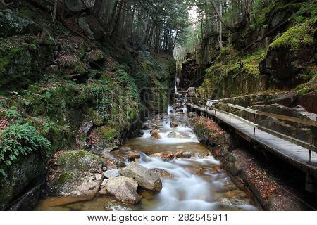 River Gorge Carved Through Granite With A Boardwalk