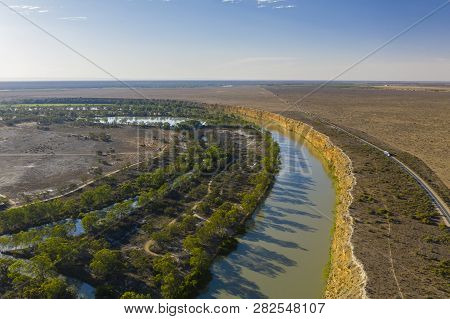Aerial View Of Big Bend In The Murray River In South Australia