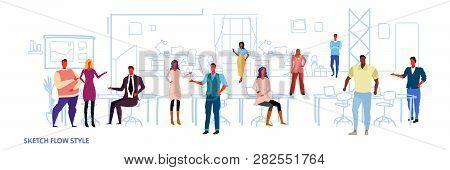Business People Work In Co-working Office Open Space Center Interior Creative Workplace Mix Race Col