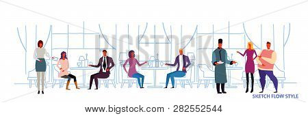 People Visitors Sitting At Restaurant Tables Waiters Showing Hospitality And Serving Guests Modern C