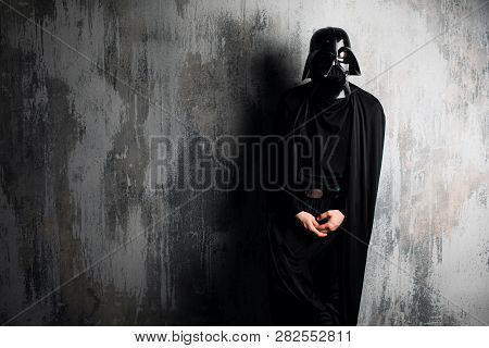 Helmet Of Darth Vader Costume Replica. Lord Fener Is A Fictional Character Of Star Wars Saga. Black