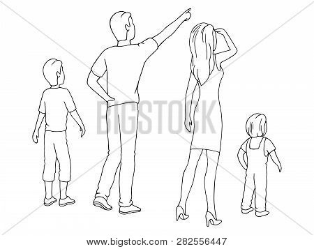 People Are Looking Up To The Sky Graphic Black White Isolated Sketch Illustration Vector