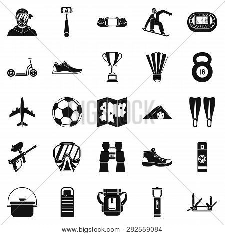 Camping In The Woods Icons Set. Simple Set Of 25 Camping In The Woods Icons For Web Isolated On Whit