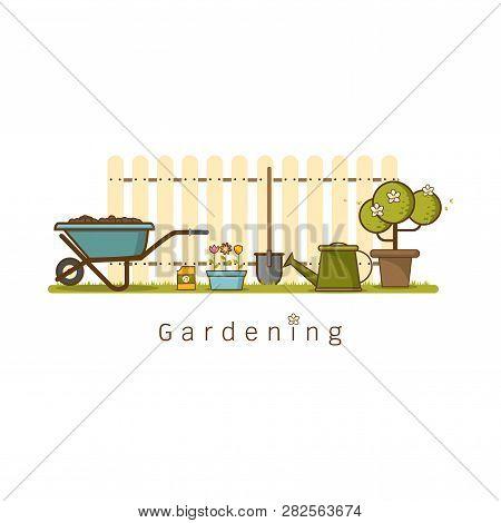 Concept Of Gardening Or Agriculture . Garden Tools. Banner With Summer Garden Landscape Cute Cartoon