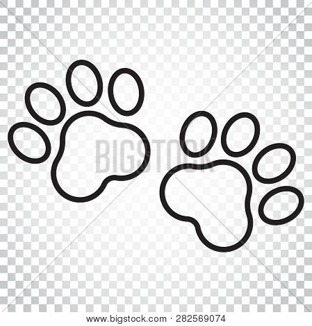 Paw Print Vector Icon In Line Style. Dog Or Cat Pawprint Illustration. Animal Silhouette. Simple Bus