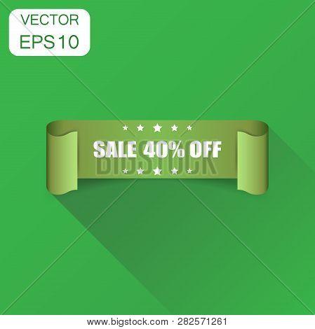 Sale 40 Ribbon Icon. Business Concept Sale 40 Percent Sticker Label Pictogram. Vector Illustration O