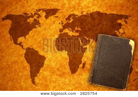 World Map And Book