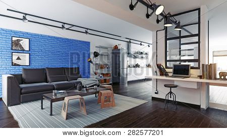 modern loft studio interior. 3d rendering design concept