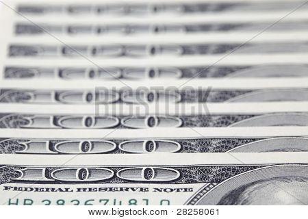 100 dollar bills on white background