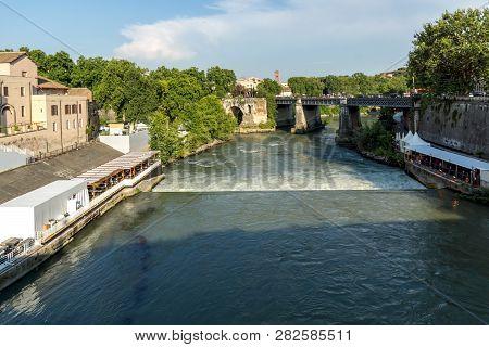 Rome, Italy - June 22, 2017: Panoramic View View Of Ponte Palatino,  Tiber River And Pons Aemilius I