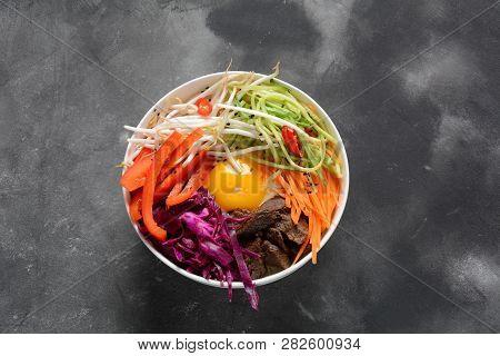 Bi Bim Bap Rice With Fried Egg Beef And Vegetables. Homemade Traditional Korean Dish. Bibimbub. Bibi