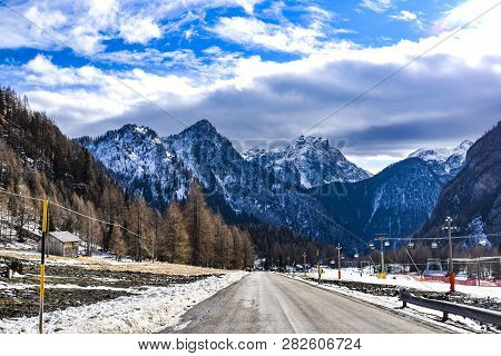 Mountain Winter Landscape, Dolomites In Italy. Mountain Winter Landscape, Dolomites In Italy.