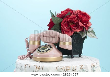 Pink Phone And Roses