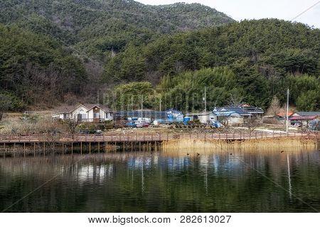 Countryside Korean Farm Houses In Geumpyeong Reservoir Park And Surrounding Nature. Geumpyeong Reser
