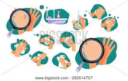 Set Of Rules How To Wash Hands. Microbes, Bathroom, Magnifying Glass. Can Be Used For Topics Like Hy